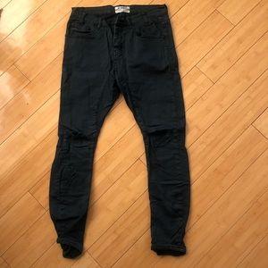 One Teaspoon Pants Drop Crotch, Blue, Ripped Knees